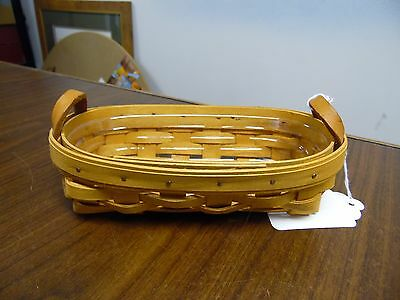 Longaberger , 1997 Lavendar Booking Basket w/Protector and Leather Handles