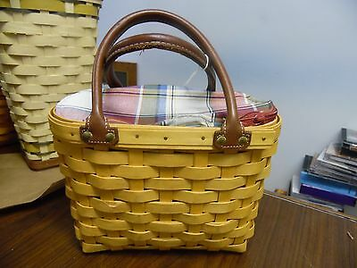 Longaberger, Small Boardwalk Basket w/Zipping Liner and Prot, Leather Handles