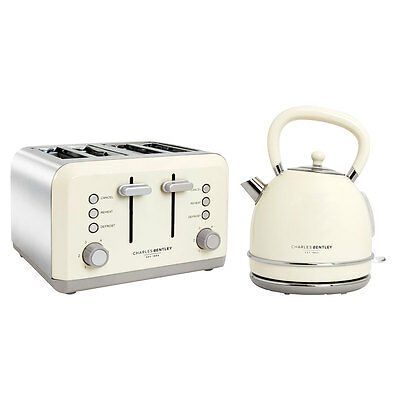 Charles Bentley Cream & Grey 3kW 1.7 Kettle And 4 Slice Toaster Set New