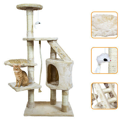 Charles Bentley Cream Cat Tree Activity Centre Scratching Post H120 x L55 x 40cm