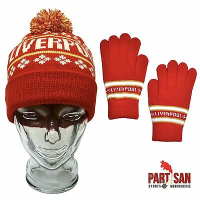 Liverpool Bobble Hat & Glove Set Red Christmas Offer