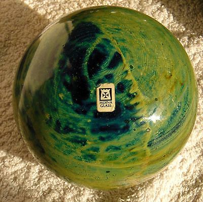 Mdina very large {& heavy} spherical paperweight / doorstop. Marked base + label