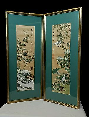 Antique Red Seal Chinese Silk Print Scrolls Heron and Waves