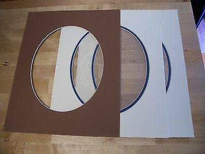 Picture Framing Mats 11x14 photo Mat 2~Ivory~Navy Blue & 1~Brown Oval
