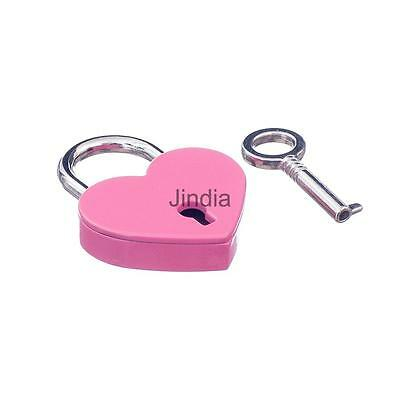 Fashion Small HeartShape Padlock Mini Luggage Bag Craft Diary Key Lock Pink