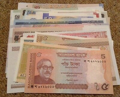 Banknote Assortment. Lot Of 38 World Banknotes. All Different