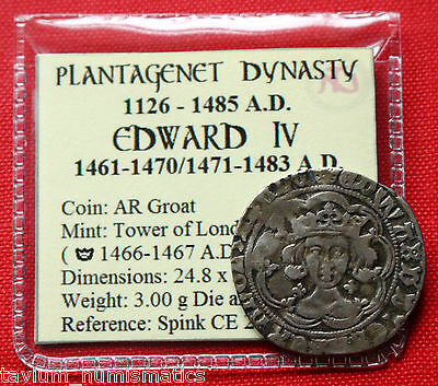 Edward IV Silver Groat 1467 AD ✤ Crown London Spink CE2000 English Hammered Coin