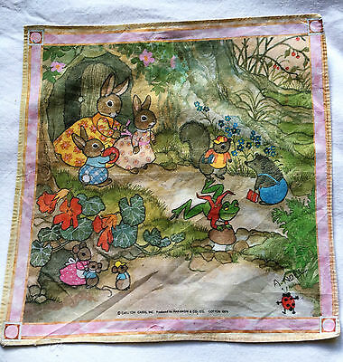 Vintage Beatrix Potter 100% Cotton Child's Hanky Handkerchief Woodland Bunnies