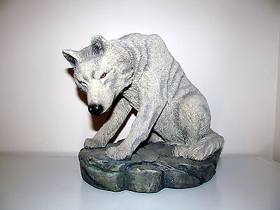 Large Gray Wolf Sculpture Resin