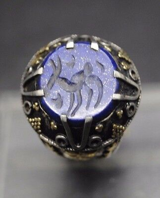 Nice Antique Silver Ring With Animal Seal And Gold Inlay