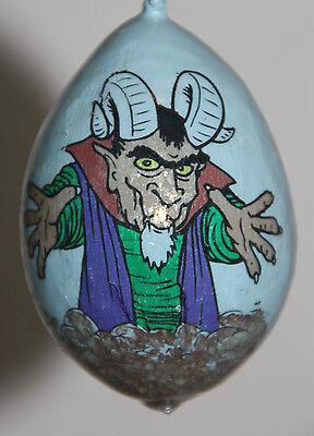 2 gourd Halloween ornaments with demons