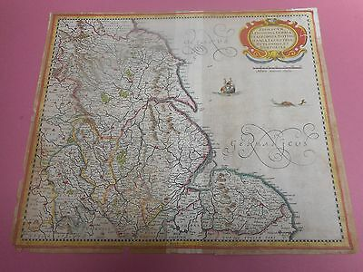 100% Original Large North Eastern England Map By Mercator  C1690