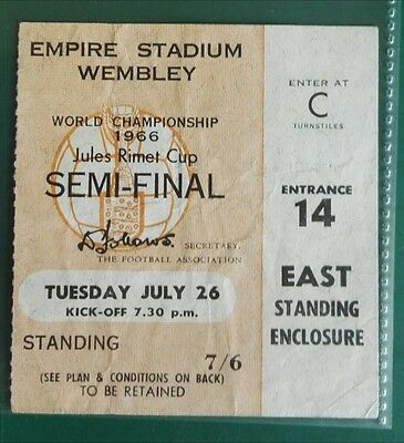 1966 WORLD CUP MATCH TICKET ENGLAND vs PORTUGAL MATCH 26th JULY( EAST) SEMI FIN