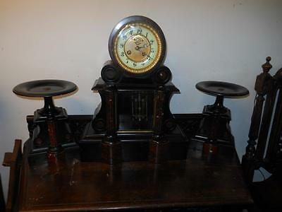 large french visible escapement glass fronted marble clock garniture c1900s