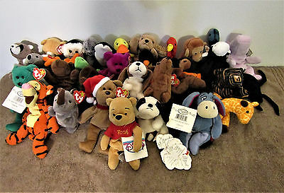 Lot of 32 - TY Beanie Babies and Disney's Pooh, Tiger, and Eeyore
