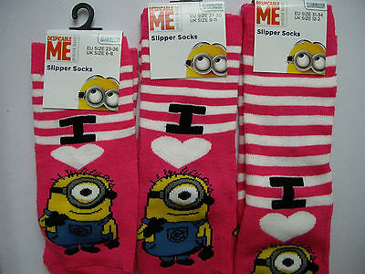 MINIONS STUART CHARACTER Winter Slipper Socks, Pink & White UK 12-2 /EUR 31-34