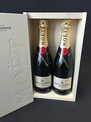 2x Moet Chandon Imperial Champagner Flasche 0,75l 12% Vol Inkl Holzkiste OHK