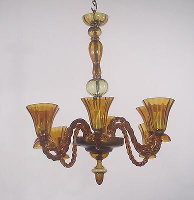Antique 8 Light Amber Majorcan Hand Blown Glass Chandelier