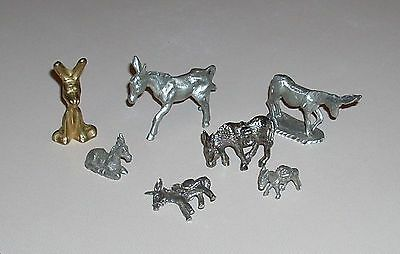 Lot of Miniature Pewter Donkey Mule Burro 6 Figurines 1 Pin Miner's Pack