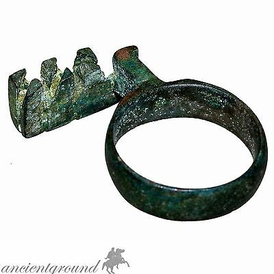 Museum Quality Roman Bronze Ring Key 200-400 Ad
