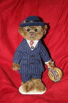 """Brass Button Plush Bear - Baxter 20th Centruy Collectibles 12"""" with stand"""