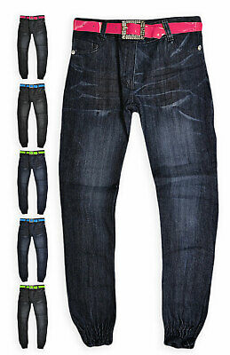Girls Skinny Jeans New Kids Blue Black Straight Cuffed Jean Pants Age 2-10 Years