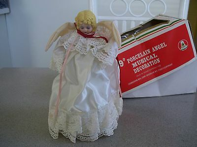 Vtg Xmas Musical Angel Porcelain Head & Hands Music Box Silent Night Decoration!