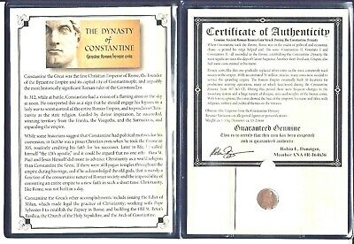 Ancient Roman Constantine Coin,4th Century A.D. with Certificate and Album
