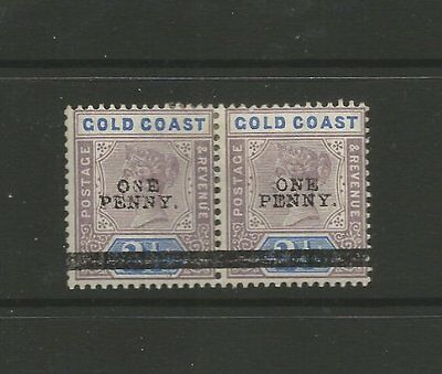 GOLD COAST 1901 M/MINT PAIR OF SURCHARGE 1d STAMPS SG 35