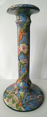crown ducal ware candlestick blue chintz,floral,exotic birds
