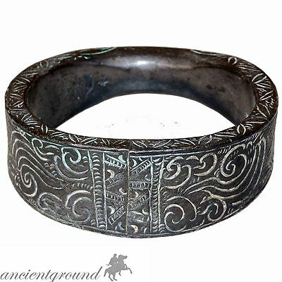 An Amazing Massive Billon Silver Plated Viking Floral Decorated Bracelet Circa
