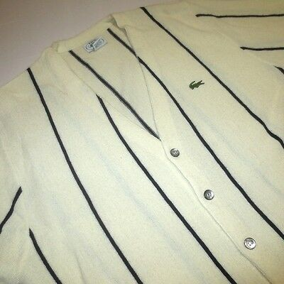Vintage 80S Izod Lacoste Cream Black Striped Cardigan Preppy Sweater Mens Large
