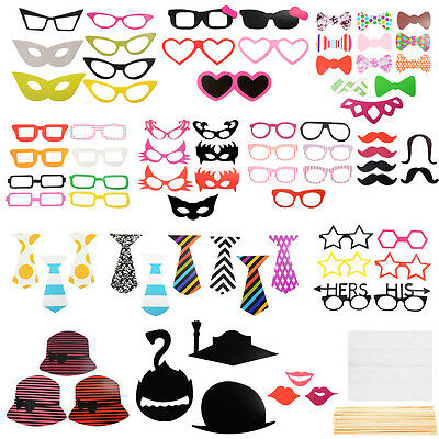 76x DIY Mask Photo Booth Props Mustache On A Stick Wedding Party Fun Favor WV234
