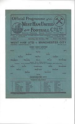West Ham United v Manchester City Football Programme 1946/47