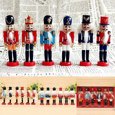 6Pcs Wooden Nutcracker Soldier Handcraft Walnut Puppet Toy Christmas Decor Gift