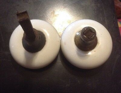 Vintage White Porcelain  Door Knob Parts Only