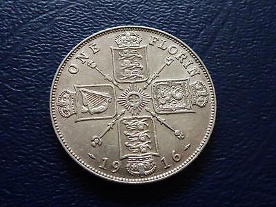 Great Britain - Rare George V Sterling Silver Florin 1916