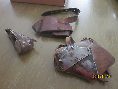 Lot of 2 vintage husker corn shucker anitique Primitive Leather Farm Hand tool