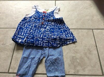 Designer Dudu girls outfit blue white top blouse leggings set 18-24 mths 2-3 yrs