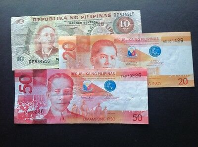 Three banknotes from the Philippines.