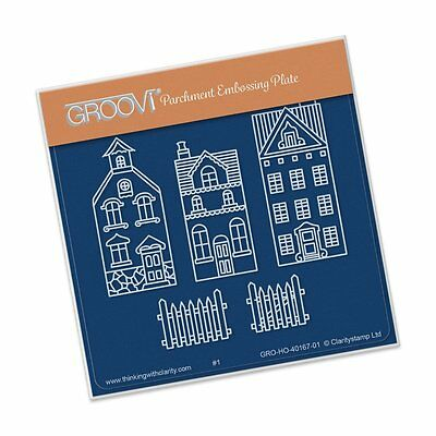 CLARITY STAMP GROOVI BABY A6 Parchment Embossing Plate WEE HOUSES & FENCE 40167