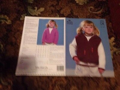 King Cole Girls Sweater Cardigan And Gilet DK Knitting Pattern New