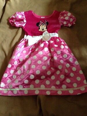 Disney Minnie Mouse Pink Short Sleeve Dress Size 6- 7 Years Good Condition