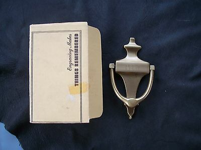 "Vintage Solid Brass Handcrafted Usa ""post"" Door Knocker-New Old Stock Tr Brand"