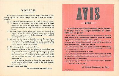 POSTCARD  MILITARY  WWI   AVIS    NOTICE  The  numerous acts of hostility....