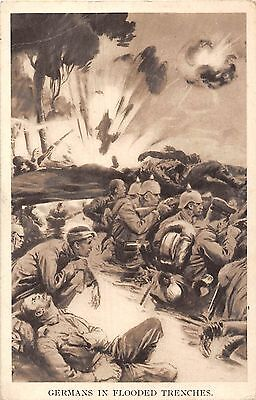 POSTCARD  MILITARY   WWI  germans in  Flooded  Trenches