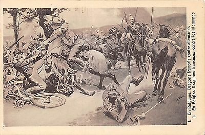 POSTCARD  MILITARY    WWI    French  Dragoons and the  Germans