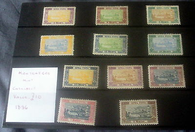 1896 Mint Montenegro Stamp Set, 11 Stamps, Stated To Catalogue £10.