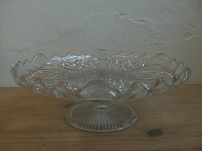 NICE VINTAGE PRESSED GLASS PEDESTAL CAKE STAND Ideal parties/cakes/fancies etc;