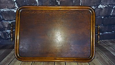 Antique Vintage Large Wooden Butlers Servants Edwardian Serving Tray Tea Coffee
